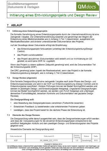 Initiierung eines Entwicklungsprojekts und Design Review