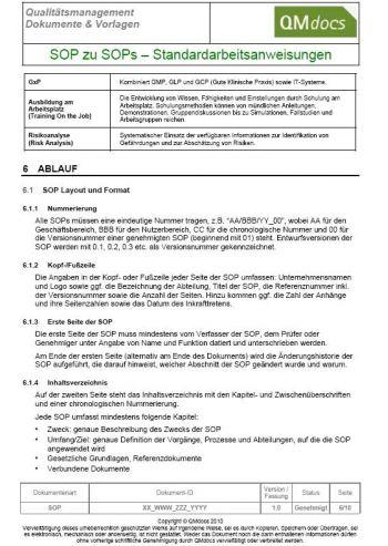 Erstellung von Arbeitsanweisungen - SOPs