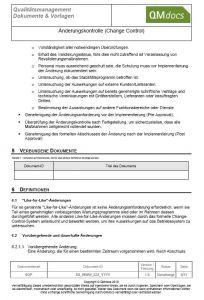Änderungskontrolle - Change Control Prozess